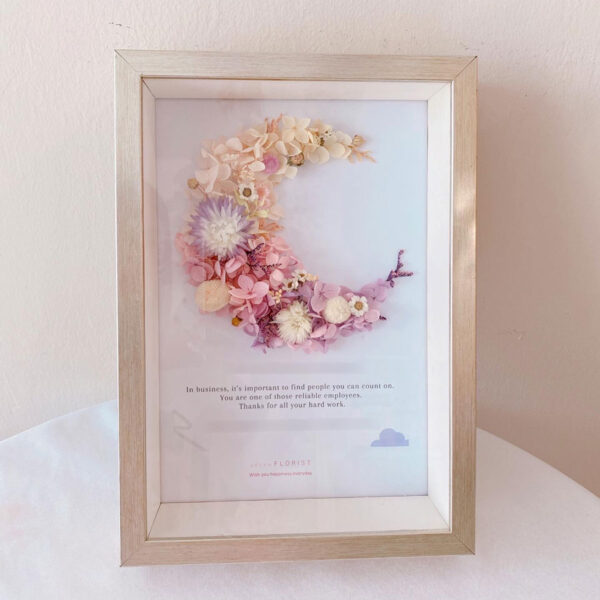 seven florist preserved flowers frame moon silver 01a