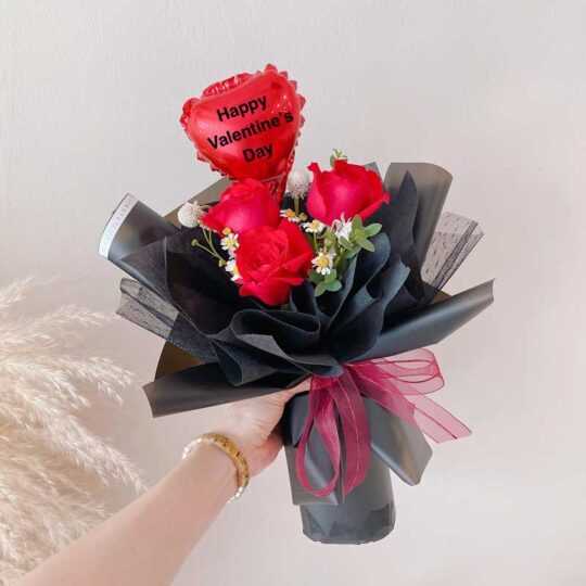 seven florist 3 roses valentines i love you red 01a